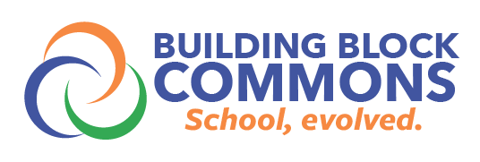 Building Block Commons Logo, 3 circles, Venn Diagram, Home, Family, Work