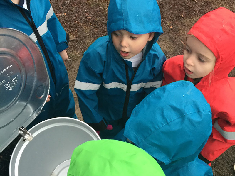 Children observing maple sap collection outdoors.